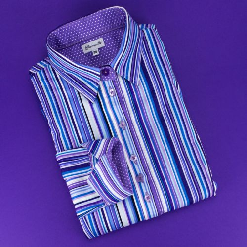 Grenouille Ladies Long Sleeve Purple and Blue Multi Stripe Shirt